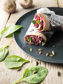 Beetroot wraps with spinach