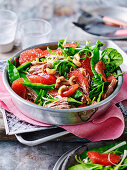 Honey soy pork with pink grapefruit and snow pea salad