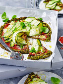 Broccoli 'pizza' with zucchini