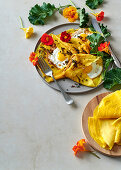 Turmeric egg crepes with crispy spring onion and curry mayonnaise