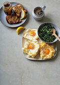Egg clouds with coconut creamed kale and glutenfree mustard toast