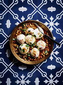 Burrata with broad beans and chickpea stew