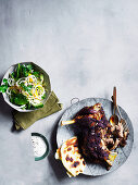Slow roasted should of lamb with garlic yoghurt