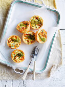 Goat's Cheese and Zucchini Flower Quiches