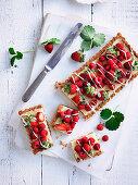 Strawberry and Raspberry White Chocolate Cheesecake