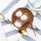 A coffee smoothie with ice cubes