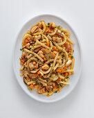 Scialatielli con coniglio e porcini (pasta with rabbit and porcini mushrooms, Italy)