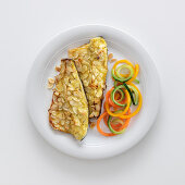 Bass fillets with an almond-mustard-and-honey crust