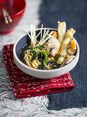 Shio ramen with tempura and vegetables