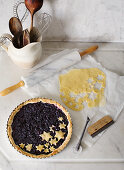 Christmas blueberry pie topped with pastry stars