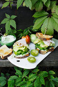 Sourdough sandwiches with green vegetables and smoked turkey