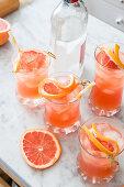 Grapefruit juice and gin