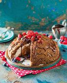 Chocolate ice-cream bombe with berries