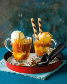 Caramel affogato with whiskey