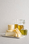An arrangement of butter and olive oil