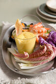 Aioli with vegetables, mussels and prawns (Italy)
