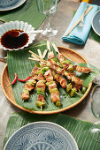 Japanese chicken skewers with soy sauce