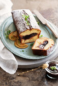 Loaf cake with plum and thyme jam