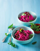 Spaghetti with beetroot 'pesto'