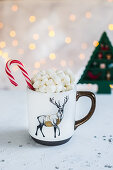 Hot chocolate with marshmellows and candy canes
