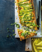 Salmon and asparagus quiche with feta
