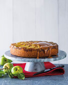 Salted caramel and apple upside-down cake