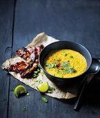 Maissuppe mit knusprigem Speck