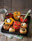 Oven-baked whole onions and peppers from Israel