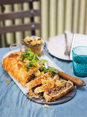 Rustic meat pie with home-made apple chutney