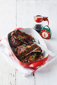 Sticky pork ribs with balsamic glaze