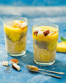 Pineapple and chia seed breakfast trifles