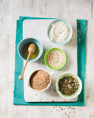 Bread ingredients - Honey, flour, salt, bran and seeds
