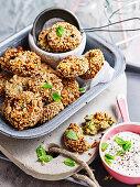 Pea, chickpea and hazelnut falafel