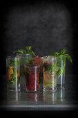 Various mojito cocktails
