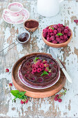 Baked chocolate ganache and raspberry pie