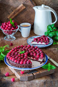 Chocolate pie with raspberries and ricotta filling