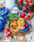Apple rings fried in pancake batter