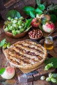 Apple and hazelnut pie with honey