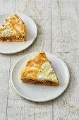 Moussaka quiche in filo pastry