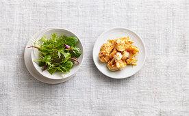 Grilled garlic prawns with salad
