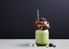 Freak Shake - Matcha Milkshake with chocolate brownie bites