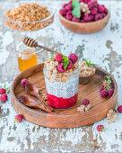 Chia pudding with raspberry puree