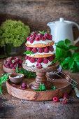 Raspberry shortcake with sourcream
