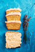 Lemon and poppy seed loaf cake with a lavender buttercream icing