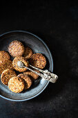 Spiced biscuits with walnuts, dates and coconut flakes