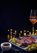 Glazed pork belly with buttered brussels sprouts