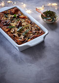 Mushroom bread-and butter pudding