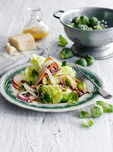 Brussel sprout salad with apples and onions