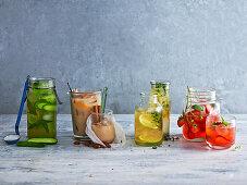Four flavoured iced tea