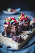 Sweet cakes decorated with berries